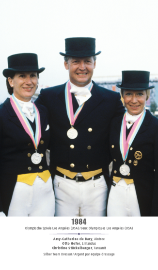 Jeux Olympique Los Angeles (USA) 1984 - Amy-Catherine de Bary, Otto Hofer, Christine Stückelberger - Argent team dressage