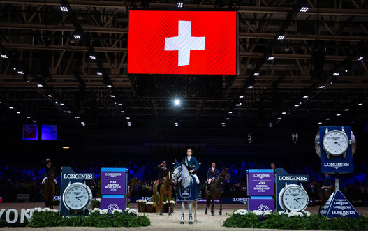 Longines FEI Jumping World CupTM. Equita Lyon 2019. © FEI / Eric KNOLL. Remise des PrixMartin FUCHS (SUI). CLOONEY 51